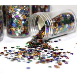 Glitter Flakes Bottle Star Shape 12 pieces Set
