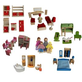 6 Room Furniture Set with Family Doll Set