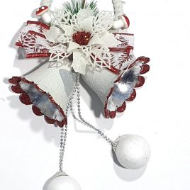 White Snow Christmas Bells with Beautiful Bow